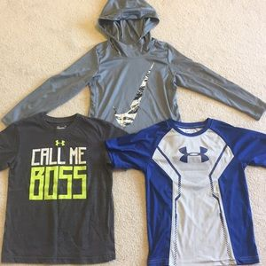 3 boys Under Armour & NIKE shirts hoodie